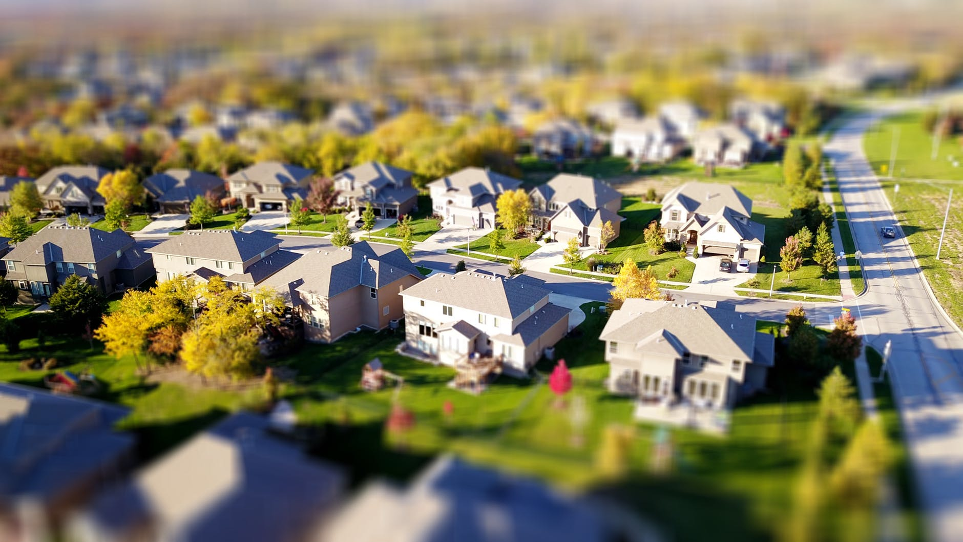high angle shot of suburban neighborhood